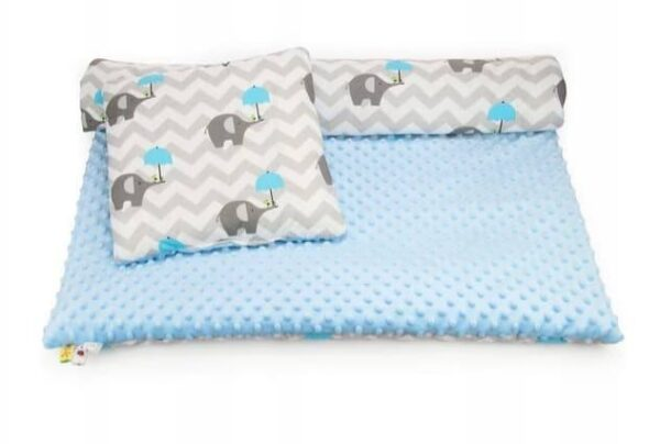 Minky & Cotton bedding set- blue elephants zigzag