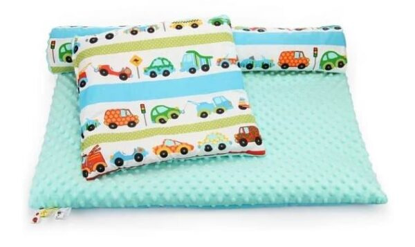Minky & Cotton bedding set- mint cars