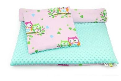 Minky & Cotton bedding set- pink/mint owls