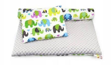 Minky & Cotton bedding set- grey elephants
