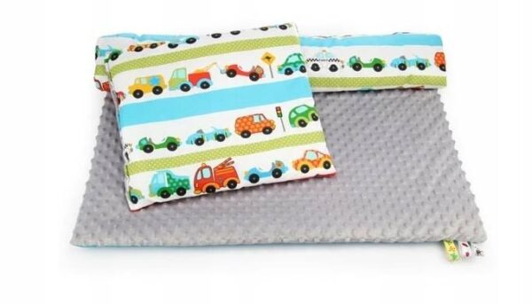 Minky & Cotton bedding set- grey cars
