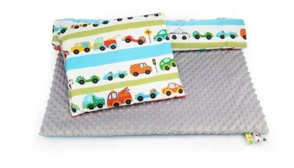 Minky & Cotton bedding set- grey cars