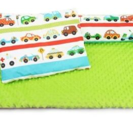 Minky & Cotton bedding set- green cars