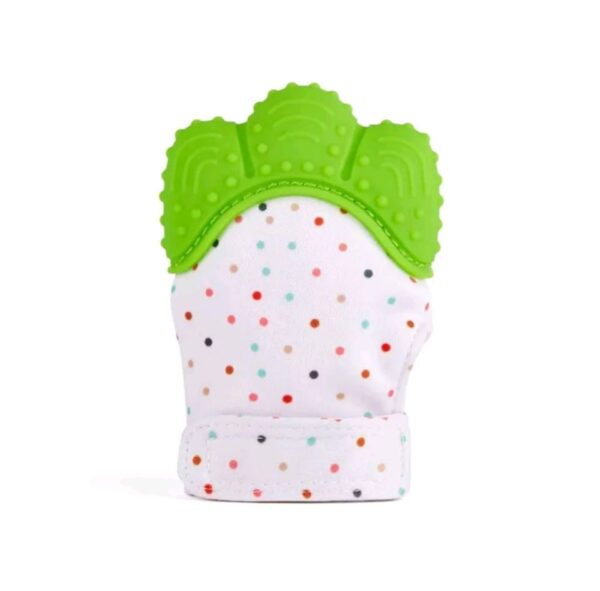 Teething mitten/ glove- green dots