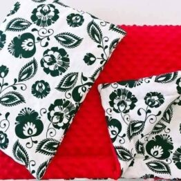 Premium minky blanket set- red flowers