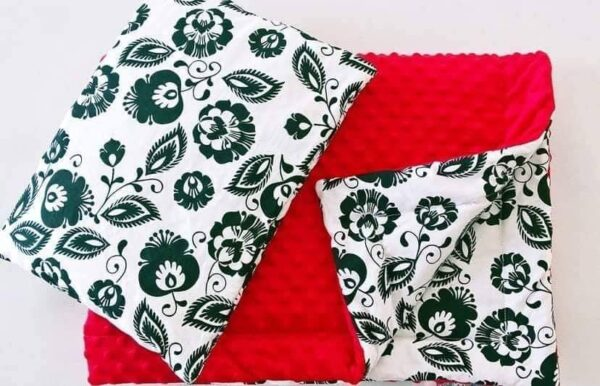 Premium minky blanket set- red flowers