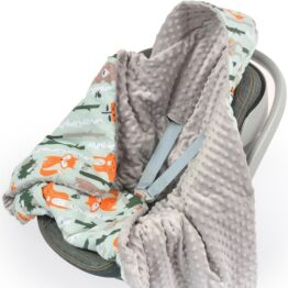 Warm Car seat blanket- grey foxes