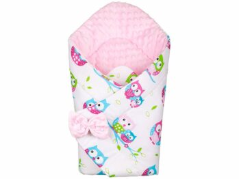 3in1 Baby Swaddle Wrap- pink/pink owls