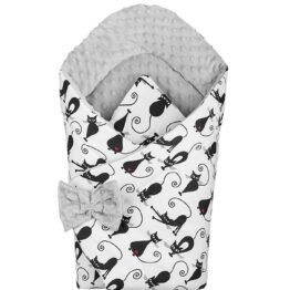 3in1 Baby Swaddle Wrap- grey cats