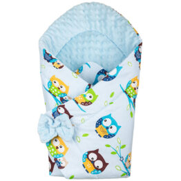 3in1 Baby Swaddle Wrap- blue owls
