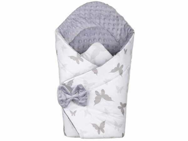 3in1 Baby Swaddle Wrap- grey butterflies