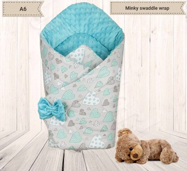 3in1 Baby Swaddle Wrap- turquoise/mint hearts