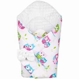 3in1 Baby Swaddle Wrap- white/pink owls