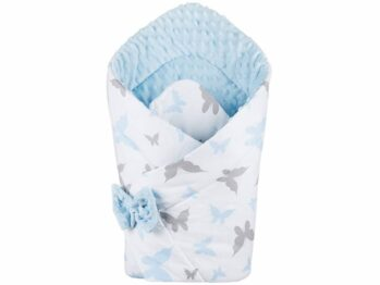 3in1 Baby Swaddle Wrap- blue butterflies