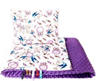 Toddler minky blanket set- purple dream catchers