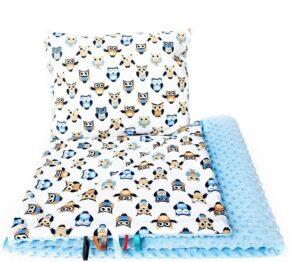 Toddler minky blanket set- blue owls