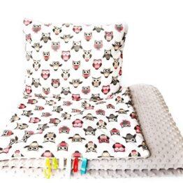 Toddler minky blanket set- beige owls