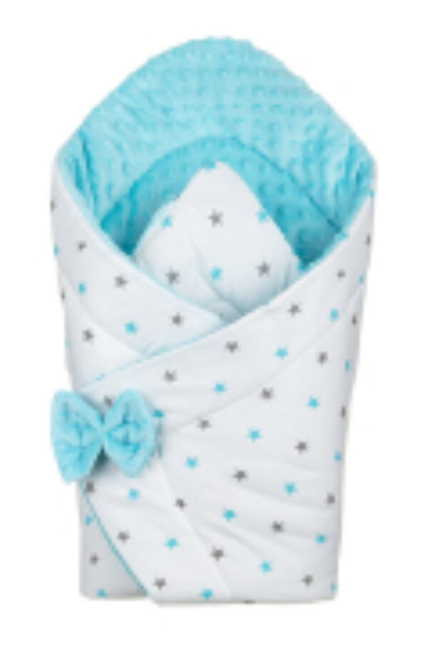 3in1 Baby Swaddle Wrap- turquoise stars