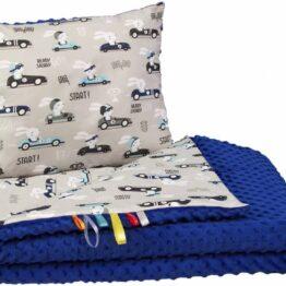 Toddler minky blanket set- dark blue cars