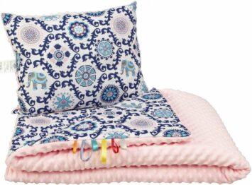 Toddler minky blanket set- pink orient
