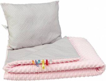 Toddler minky blanket set- pink/grey dots
