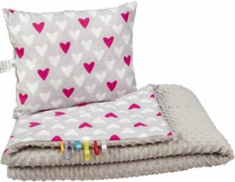 Toddler minky blanket set- grey hearts