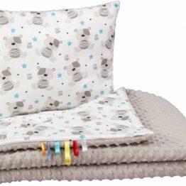 Toddler minky blanket set- grey teddies