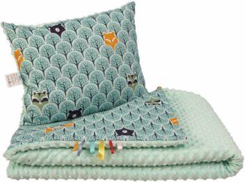Toddler minky blanket set- mint forest