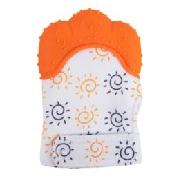 Teething mitten/ glove- orange sun