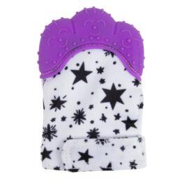 Teething mitten/ glove- purple stars