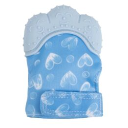 Teething mitten/ glove- blue hearts