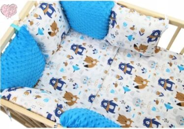 Minky & Cotton bedding set with pillow bumpers- blue animals