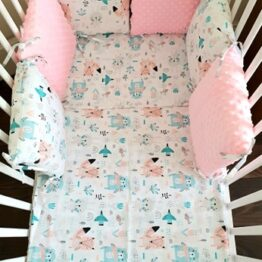 Minky & Cotton bedding set with pillow bumpers- pink animals