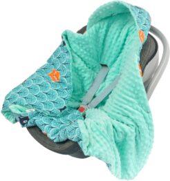 Warm Car seat blanket- mint foxes