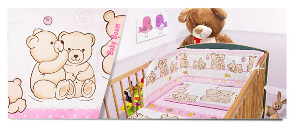 100% Cotton Bedding set- pink hug teddies