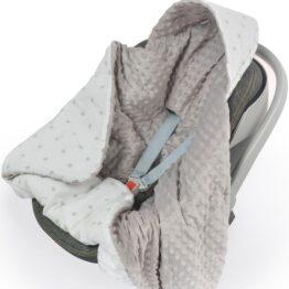 Warm Car seat blanket- white/grey stars