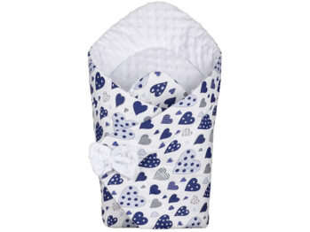 3in1 Baby Swaddle Wrap- blue hearts