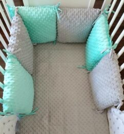 Premium minky pillow bumper- mint&grey