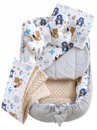 6in1 Baby Nest Set- beige/navy teddies