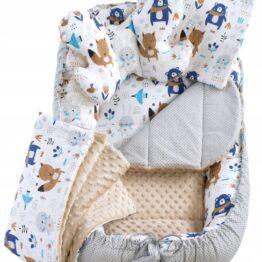 5in1 Baby Nest Set- beige/navy teddies