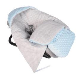 Car seat blanket/sleeping bag- blue/grey dots