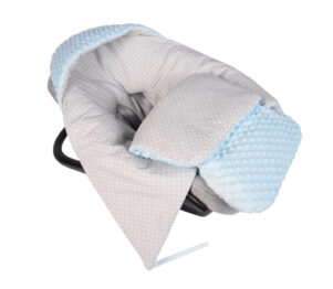 Car seat blanket/sleeping bag- blue/grey dots