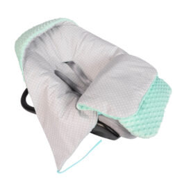 Car seat blanket/sleeping bag- mint/grey dots