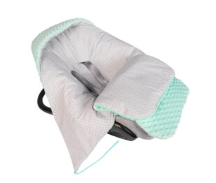 Car seat blanket/sleeping bag- mint/grey dots