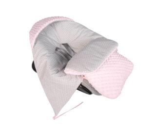 Car seat blanket/sleeping bag- pink/grey dots