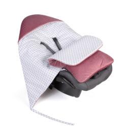 Car seat blanket/sleeping bag- wine checked