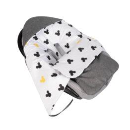 Car seat blanket/sleeping bag- grey linen mickey