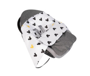 Car seat blanket/sleeping bag- grey linen mickey