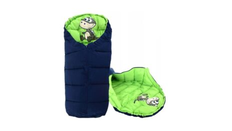 Warm footmuff 90cm- navy/green dino