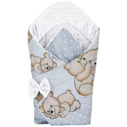 3in1 Baby Swaddle Wrap- white hug teddies